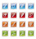 Edilizia e costruzione di icone di strumenti — Vettoriale Stock