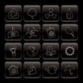 écologie de la ligne et le recyclage des icônes — Vecteur