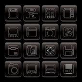 Linie, haus und büro, ausrüstung-symbole — Stockvektor