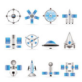 Different kinds of future spacecraft icons — Stock Vector
