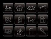 Silniční, navigační a cestovní ikonami — Stock vektor