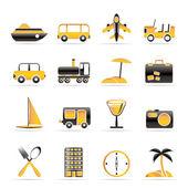 Iconos de viajes, transporte, turismo y vacaciones — Vector de stock