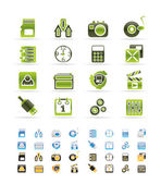 Phone performance, internet and office icons — Vettoriale Stock