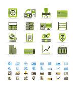 Iconos de oficina, negocios, finanzas y banco — Vector de stock