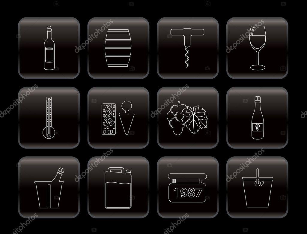 葡萄酒图标-矢量图标集— 矢量图片作者 stoyanh