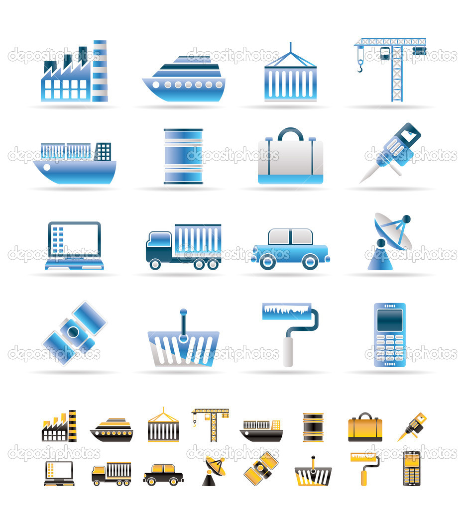 Industry and Business icons - vector icon set. 2 colors included. — Stock Vector #5027911