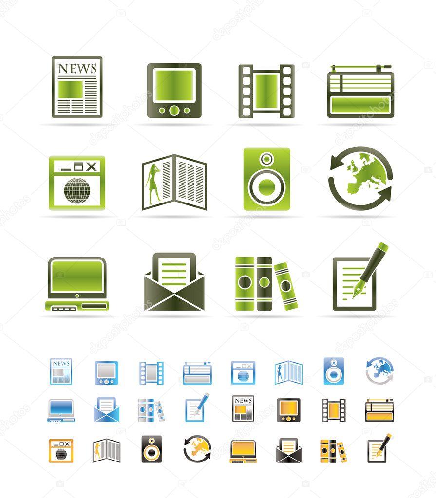 媒体和信息图标-矢量图标设置-3