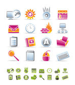 Computer, mobile phone and Internet icons — Vector de stock