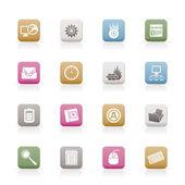 Computer, telefono cellulare e icone di internet — Vettoriale Stock