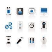 Icône d'éléments ordinateur et téléphone mobile — Vecteur