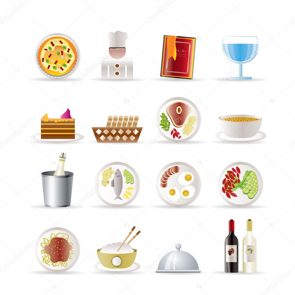 Restaurant, food and drink icons - vector icon set — Stock Vector #5030458