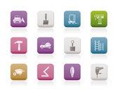 建筑和施工设备图标 — Stockvektor