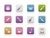 Kochen geräte und werkzeuge symbole — Stockvektor