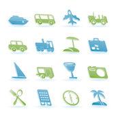 Reisen sie, transport, tourismus und urlaub-symbole — Stockvektor