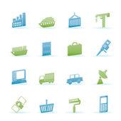Icone di industria e commercio — Vettoriale Stock