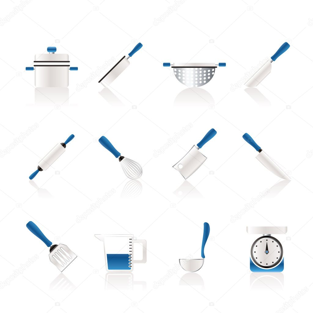 Cooking equipment and tools icons - vector icon set — Stock Vector #5049869