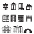Different kinds of houses and buildings - Stock Vector
