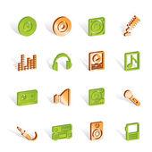 Musik och ljud ikoner — Stockvektor