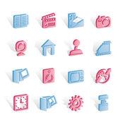 Iconos de internet, computadora y teléfono móvil — Vector de stock