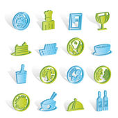Restaurant, food and drink icons — Stock Vector