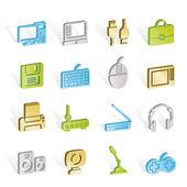 Icone di computer, attrezzature e periferia — Vettoriale Stock