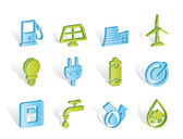 Ecology, power and energy icons — Stock Vector