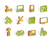 Business, technology communications icons — Stock Vector