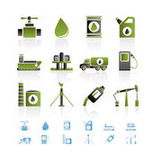 Industria de petróleo y gasolina objetos iconos — Vector de stock