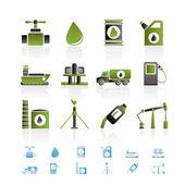 Olie- en benzineprijzen industrie objecten pictogrammen — Stockvector