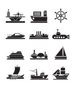 Different types of boat and ship icons — Stockvektor