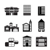 Different kind of houses and buildings — 图库矢量图片