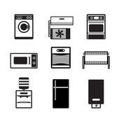 Domácí elektroniky a vybavení ikony — Stock vektor
