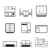Furniture and furnishing icons — Stock Vector