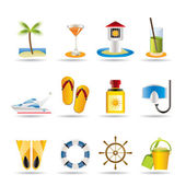 Sea, marine and holiday icons — Stock Vector