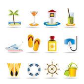 Sea, marine and holiday icons — Stock Vector