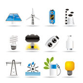 Power, energy and electricity icons — Stock Vector