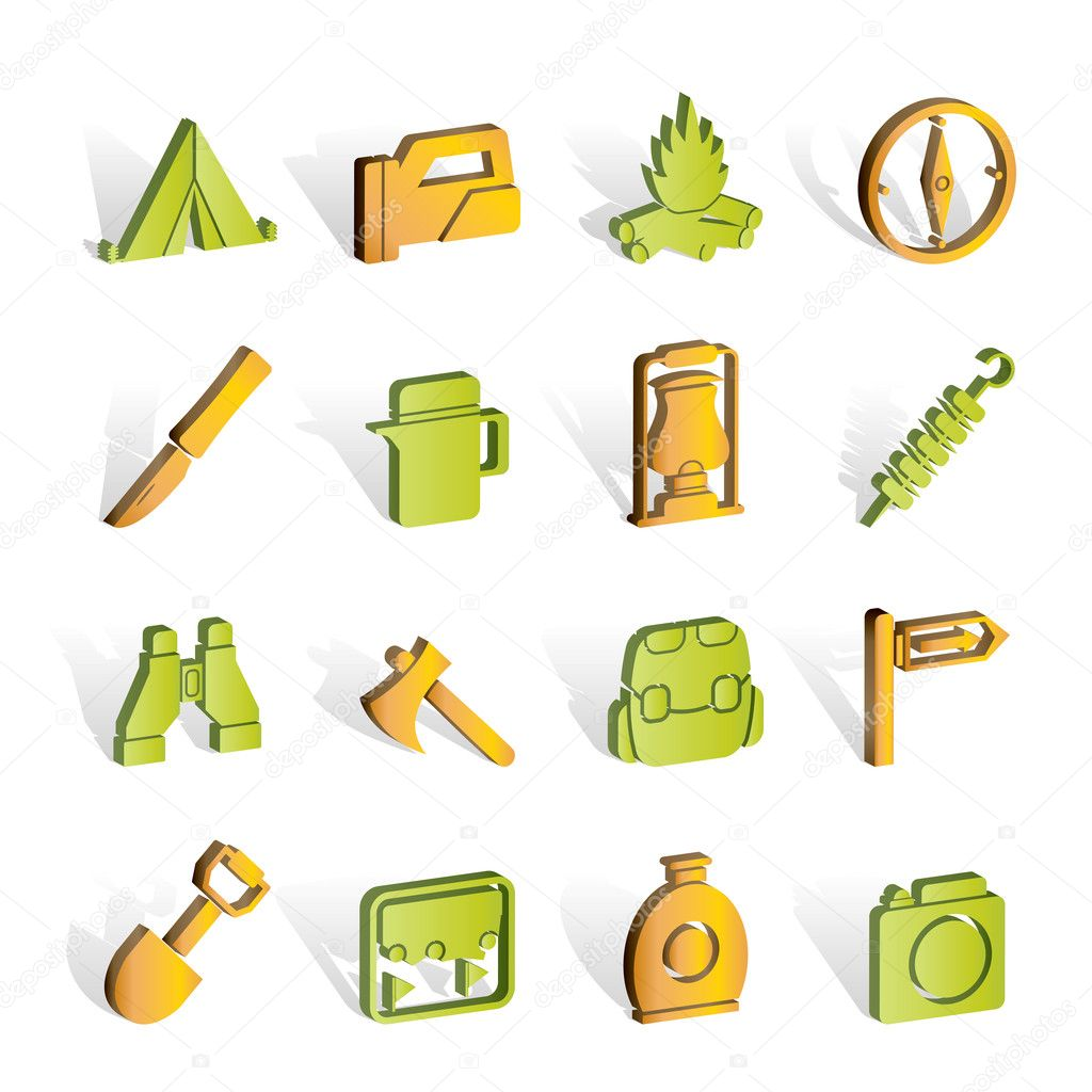 Tourism and hiking icons - vector icon set — Stock Vector #5053297