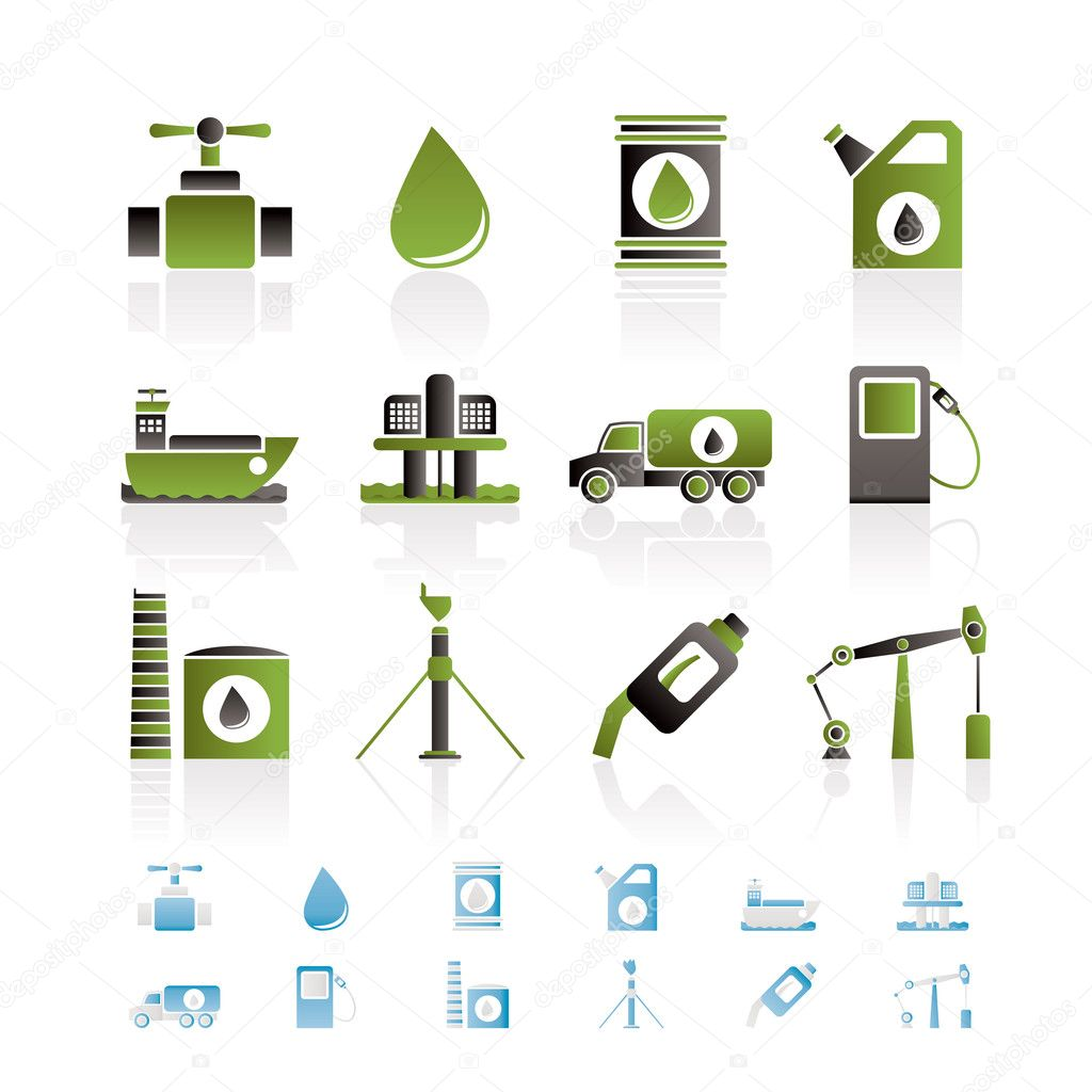 Oil and petrol industry objects icons - vector icon set — Stock Vector #5053333