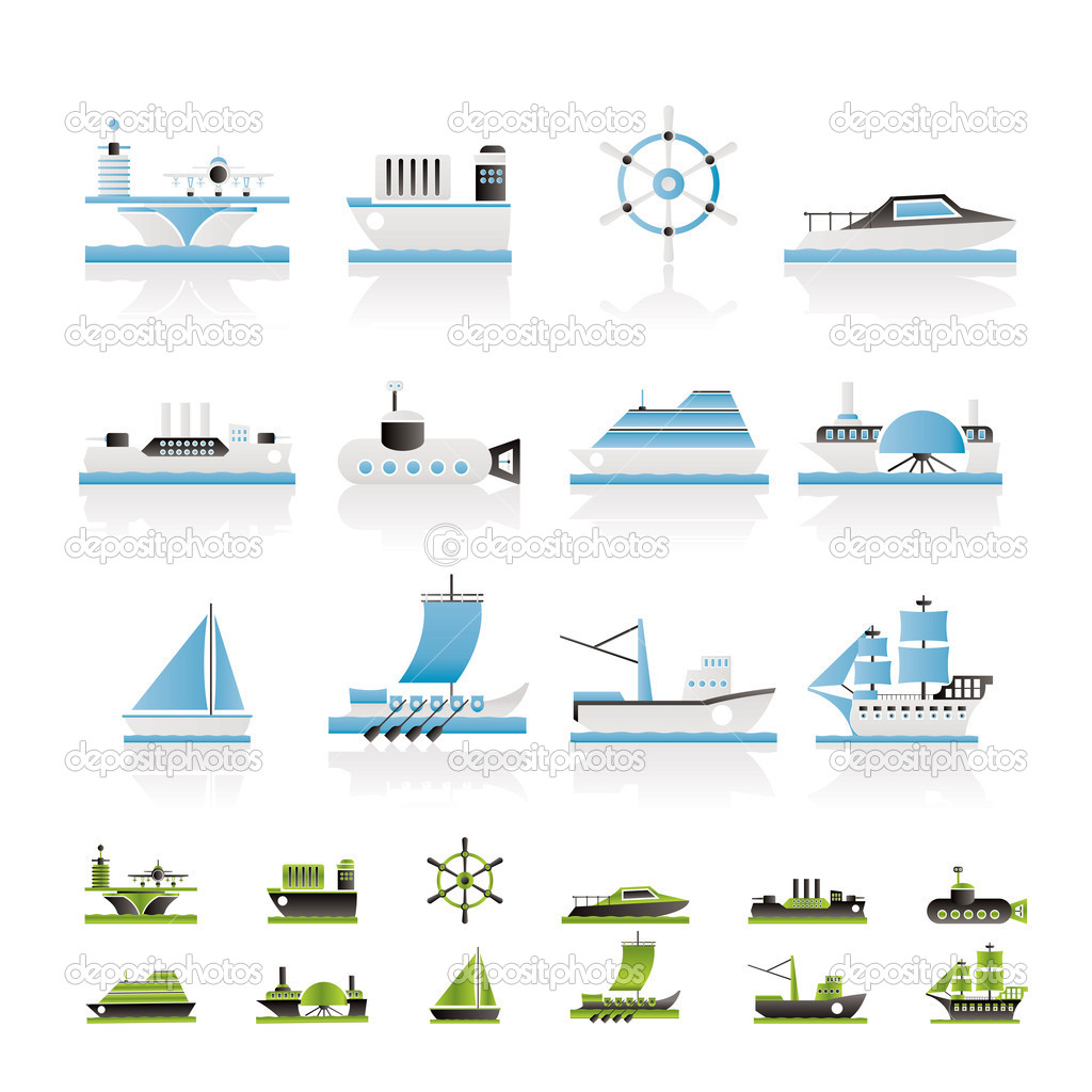 Different types of boat and ship icons - Vector icon set — Stock Vector #5053769