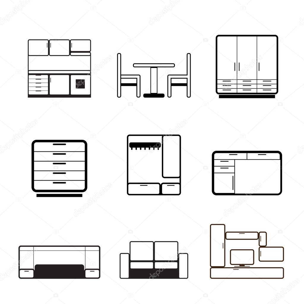 Furniture and furnishing icons - vector icon set — Vektorgrafik #5053821