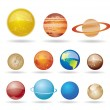 Planets and sun from our solar system - Stock Vector