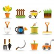 Garden and gardening tools icons — Stock Vector #5062413