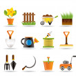 Stock Vector: Garden and gardening tools icons