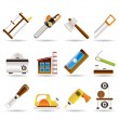 Woodworking industry and Woodworking tools icons — Stock Vector