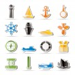 Simple Marine, Sailing and Sea Icons — Stock Vector