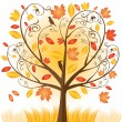 Stock Vector: Beautiful autumn tree with fall Leafs