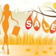 Autumn background with shopping woman with shopping bags - Stock Vector