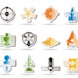 Different kinds of future spacecraft icons - Stock Vector
