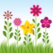 Abstract flower background with grass — Stockvektor