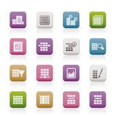 Banco de dados e ícones de formatação de tabela — Vetorial Stock